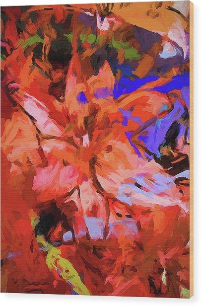 Lily Cobalt Orange Wood Print