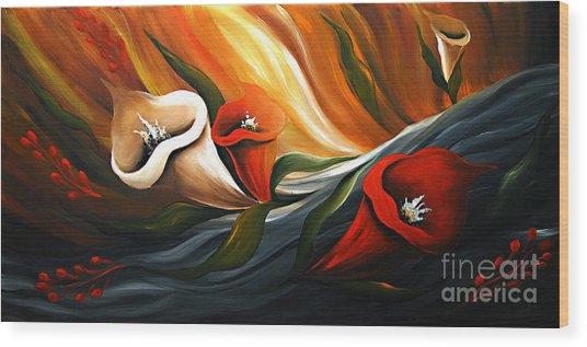 Lily In Flow Wood Print by Uma Devi