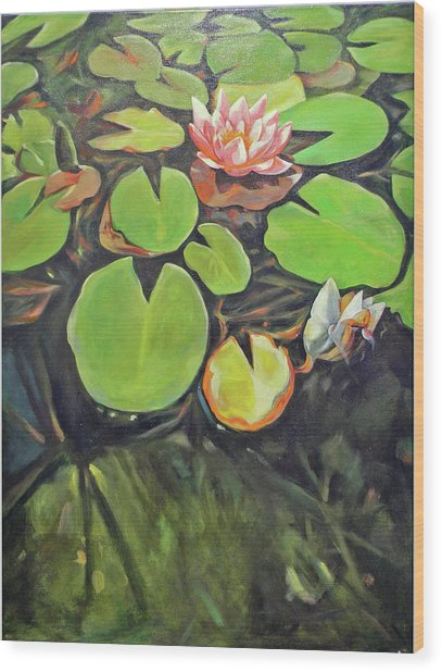 Lily In The Water Wood Print