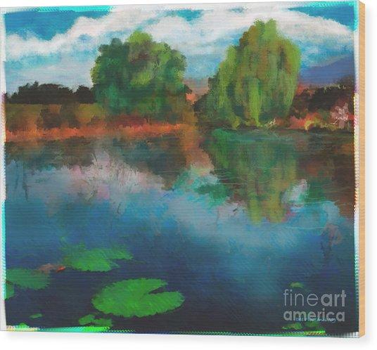 Lily Pond A La Torrie Wood Print