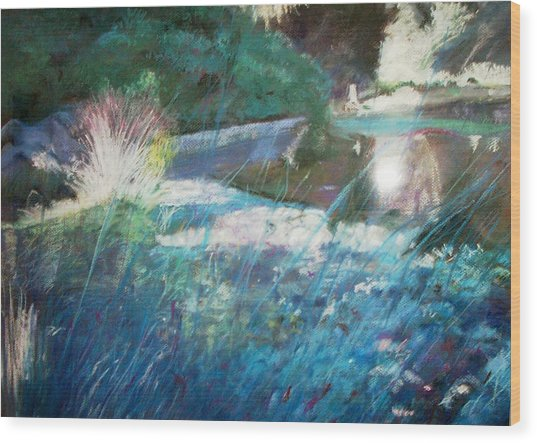 Lily Pond Statue And Gardens Wood Print by Anita Stoll