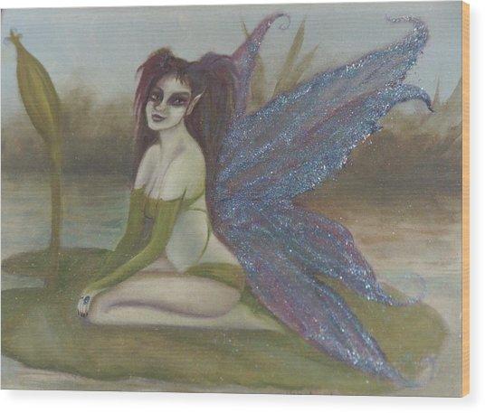 Lilypad Faerie Wood Print