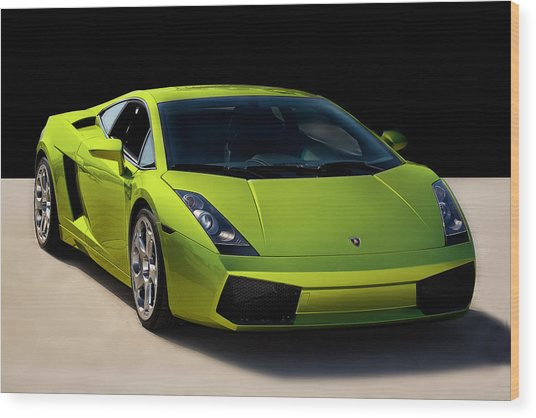 Lime-borghini Wood Print by Peter Tellone
