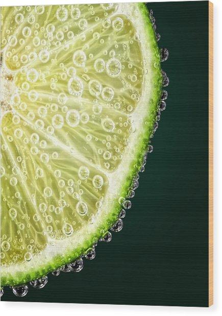 Lime Slice Wood Print