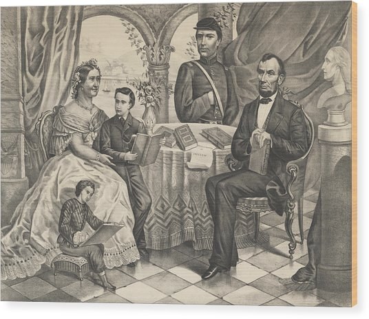 Lincoln And His Family Wood Print