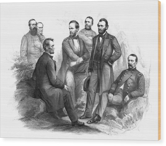 Lincoln And His Generals Black And White Wood Print