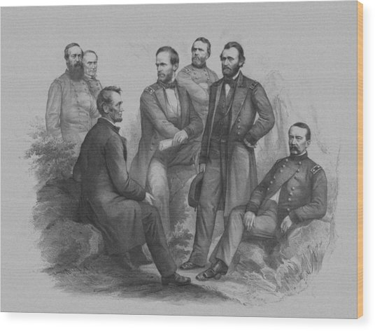 Lincoln And His Generals Wood Print