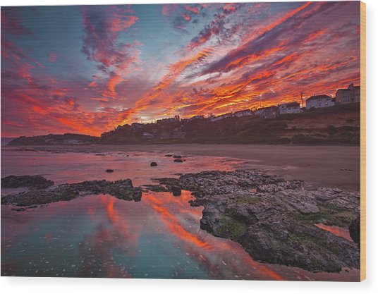 Lincoln City Sunrise Wood Print