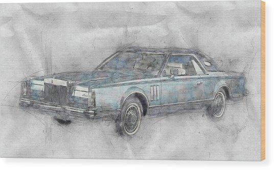 Lincoln Continental Mark V 1 - 1977 - Automotive Art - Car Posters Wood Print