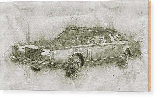 Lincoln Continental Mark V - 1977 - Automotive Art - Car Posters Wood Print