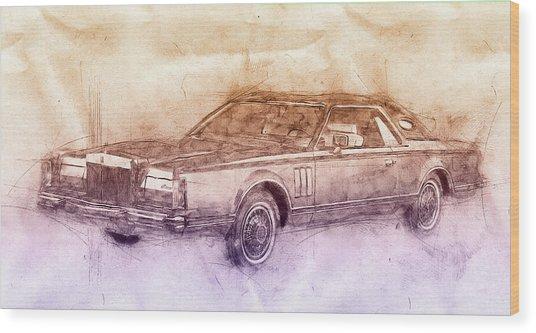 Lincoln Continental Mark V 2- 1977 - Automotive Art - Car Posters Wood Print