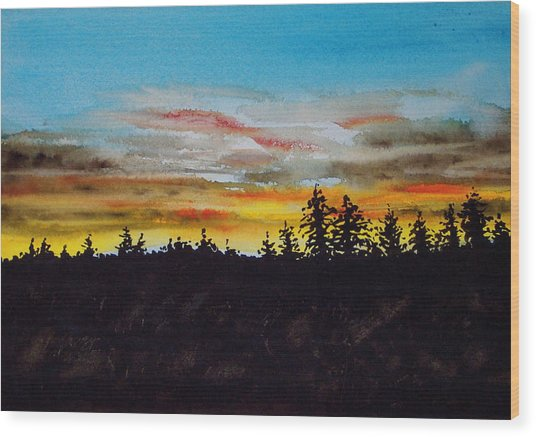 Lincoln County Sunset 2 Wood Print