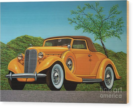 Lincoln K Convertible 1935 Painting Wood Print