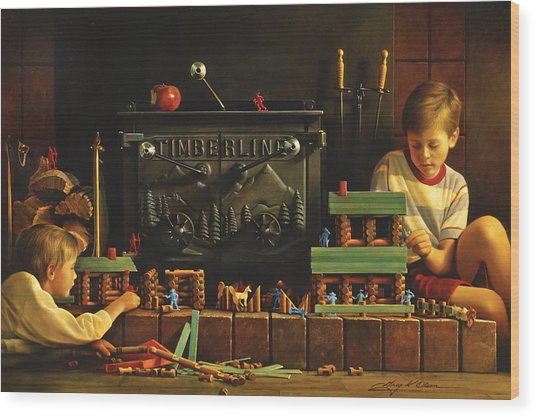 Lincoln Logs Wood Print