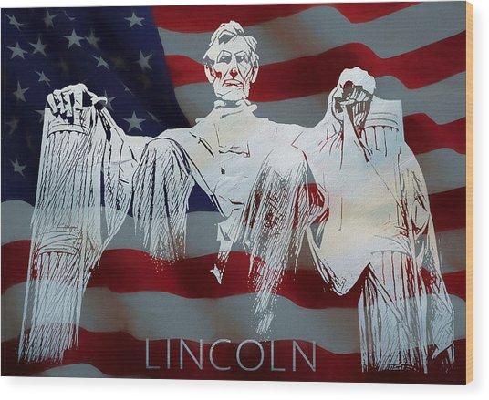 Lincoln Memorial American Flag Wood Print