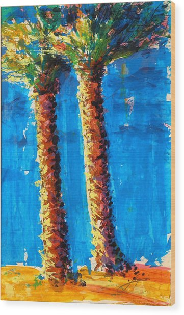 Lincoln Rd Date Palms Wood Print