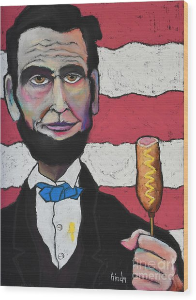 Lincoln's Corndog Wood Print