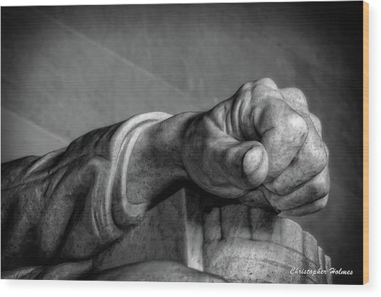 Lincoln's Left Hand B-w Wood Print