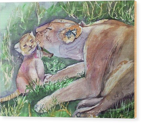 Lion And Cub Wood Print