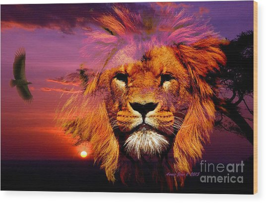 Lion And Eagle In A Sunset Wood Print