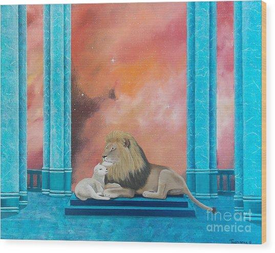 Lion And Lamb Wood Print