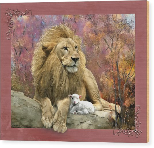 Lion And The Lamb Wood Print
