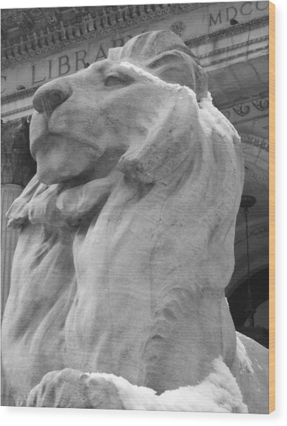 Lion At New York Public Library Wood Print