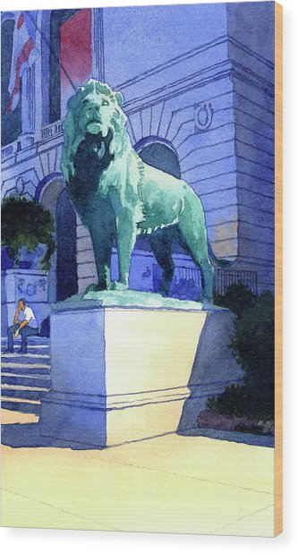 Lion At The Art Institue Of Chicago Wood Print