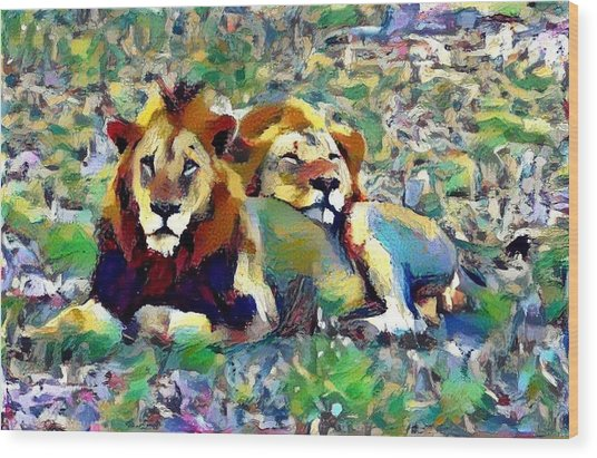 Lion Buddies Wood Print