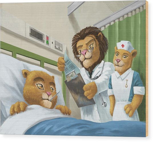 Lion Cub In Hospital Wood Print