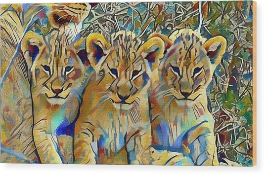 Lion Cubs Wood Print