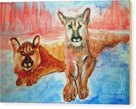 Lion Cubs Of Arizona Wood Print
