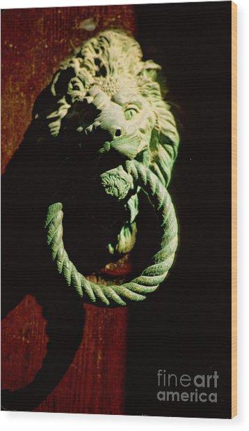 Lion Door Knocker In Venice Wood Print by Michael Henderson