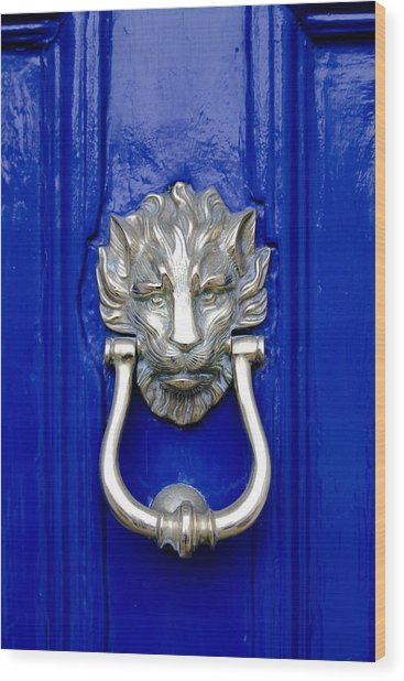 Lion Doorknocker Wood Print