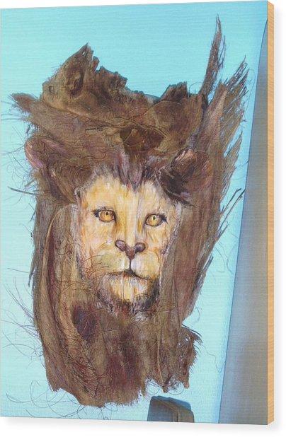 Lion Wood Print by Ellen Burns
