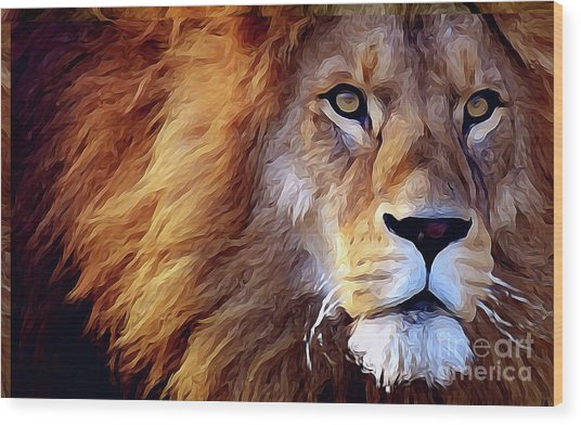 Lion-hearted Wood Print