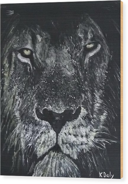 Wood Print featuring the painting Lion by Kevin Daly