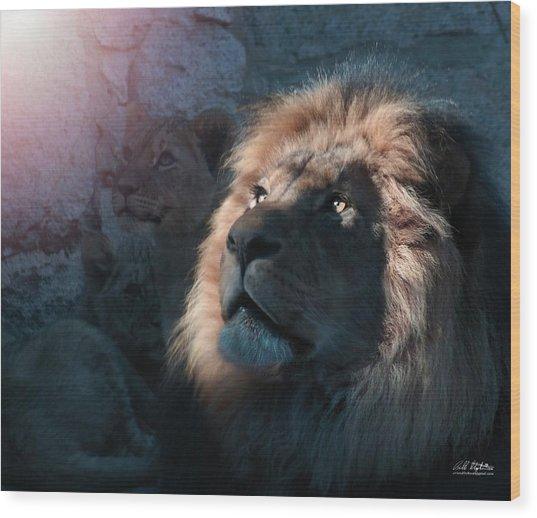 Lion Light Wood Print