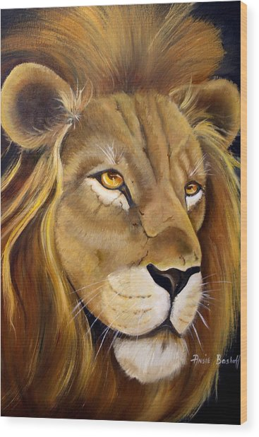 Lion Male Wood Print by Ansie Boshoff