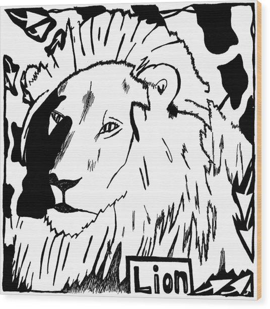 Lion Maze Wood Print by Yonatan Frimer Maze Artist