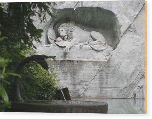 Lion Monument Lucerne Switzerland Wood Print