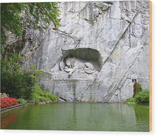 Lion Of Lucerne Wood Print