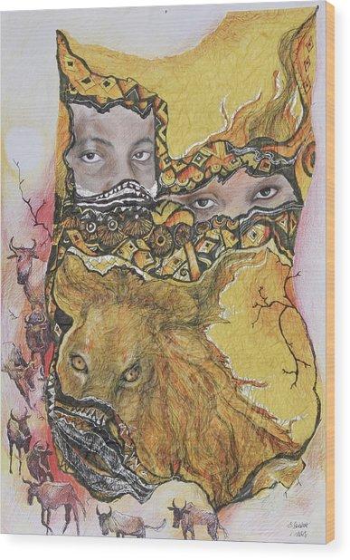 Lion Power Wood Print