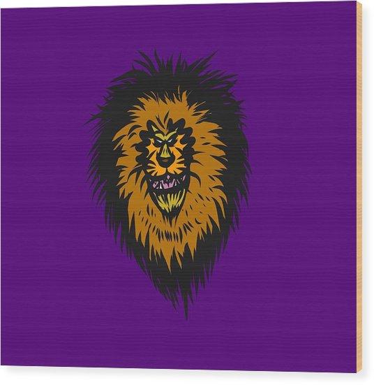 Lion Roar Purple Wood Print