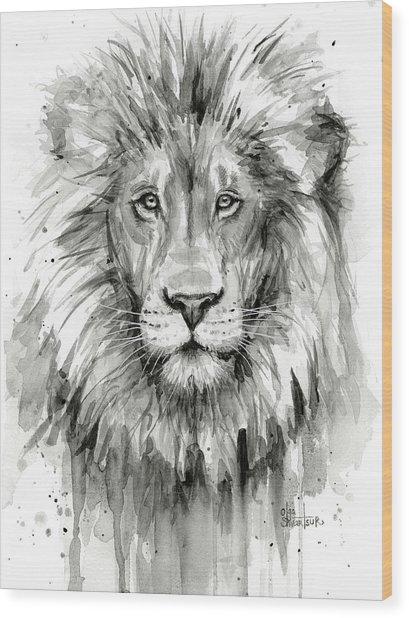 Lion Watercolor  Wood Print