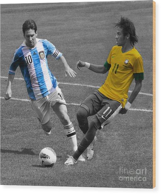 Lionel Messi And Neymar Clash Of The Titans At Metlife Stadium  Wood Print