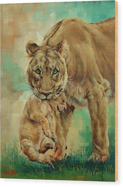 Lioness And Cub Wood Print