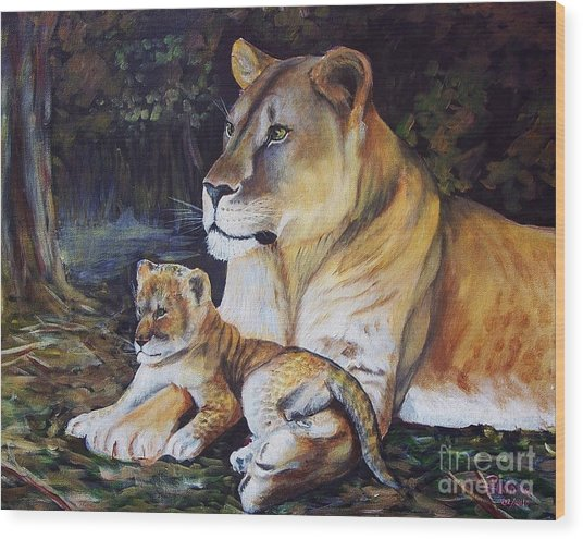 Lioness And Cub Wood Print
