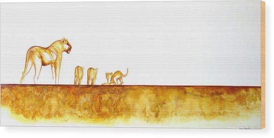 Lioness And Cubs - Original Artwork Wood Print