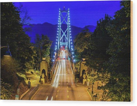 Lions Gate Bridge At Night Wood Print